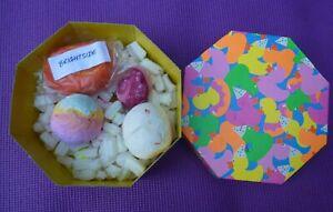 Lush Bath Bombs & Brightside Bubble Bars 4 Pieces & Box Dragons Egg Groovy Love
