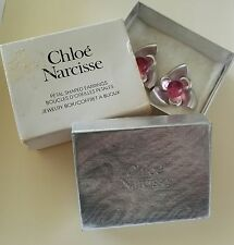 Chloe Vintage Designer Earrings Brushed Silver Tone Pink Crystal  Original Boxes