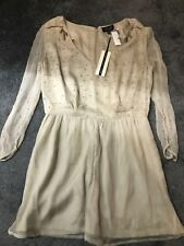 Topshop Beige Sequinned Chiffon Occasion Playsuit Size 12 BNWT £75