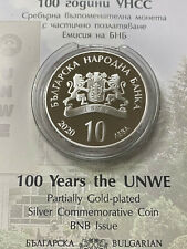 More details for bulgaria 10 leva 2020 100 years unwe very rare silver proof coin coa