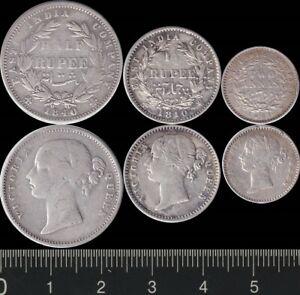 India: 1840 Half Rupee, Quarter Rupee, 1841 Two Annas silver QV ½R, ¼R, 2a (3)