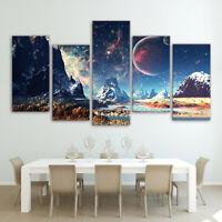 Multi Panel Print Space Mountain Canvas 5 Piece Wall Art Star Moon Earth Galaxy