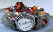 Nickel Closure Silvertone Beads New Battery Cheval Stone Watch 1937 Indian Head