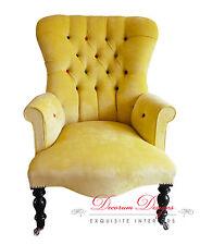 Vintage Retro Yellow Velvet & Smartie Button Back Nursing Chair