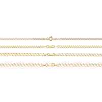 Solid 9ct Yellow Gold Flat Curb Chain Men`s Necklace Long Thick 2MM 3MM 4MM