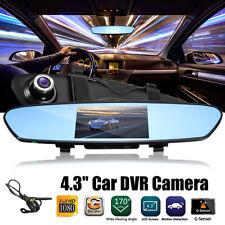 "Car Rear View Monitor Mirror Reverse Backup Camera 4.3"" Dual Lens DVR Dash Cam"