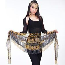 SH15# Belly Dance Costume Tribal Beaded Tassel Leopard Hip Scarf Belt