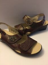 1b37a458 Waldlaufer Women's Brown Cognac Leather straps comfort Sandals Size US 8.5
