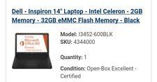 Dell Inspiron 3452 14in. (32GB, Intel Celeron N, 2.48GHz, 2GB) Notebook/Laptop …