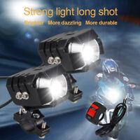 2X 12V-80V 20W UTV Motorcycle Motorbike Headlight Spot Fog Light LED Lamp+Switch