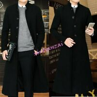 Mens Single-breasted Long Wool Blend Trench Coat Parka Outwear S-4XL Black Hot