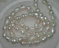"""Natural White 8-9mm Luster Baroque Freshwater Pearls Loose Bead 15"""""""