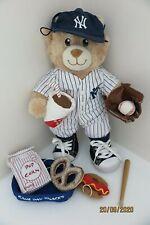 Build-A-Bear + clothes NY Yankees baseball outfit + GAME DAY SNACKS bundle RARE