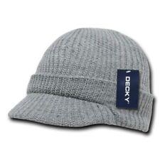 Light Grey Gray GI Jeep Cap Knit Beanie Winter Hat Radar Military Tactical Brim