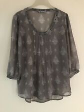 NEXT Lightweight Chiffon Grey Top blouse 10 12 14 16 18 20 New without tags