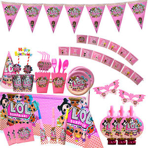 LOL Party supplies/Disposable tableware / Birthday decorations/Baby pink 96pcs