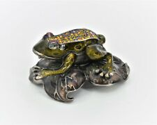 Bejeweled Frog on Lily Pad Trinket Box. Hand Painted Enamel, Swarovski Crystals