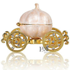 Crystal Metal Pumpkin Carriage Trinket Box Collection Wedding Favor Decor Gift
