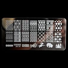 DIY Nail Art Stamp Stencil Knitting Pattern Elephant Witch Stamping Template L10