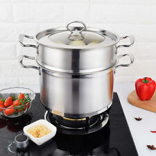 3 Tier Stainless Steel Steam Cooker Steamer Pan Induction Hob Cook Food Veg Pot