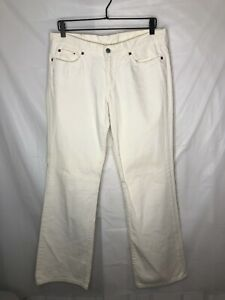 Lucky Brand Dungarees Women's Mid-Rise Flare White Pants Made In USA Size 10/30