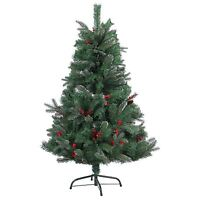 4ft-7ft Pre Decorated Artificial Christmas Tree Frosted Tips Pine Cones Barries