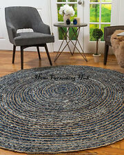 Jute Denim Cotton Indian Braided Handmade Round - 6 Ft Reversible Decor Rag Rugs