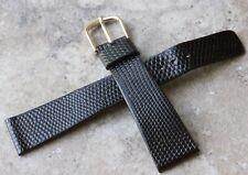 Black vintage Seiko watch 20mm strap NOS Genuine Calfskin in lizard pattern