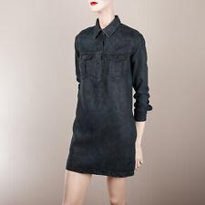MANGO Damen Kleid S XS 34 Schwarz Jeans Look Tunika Blusenkleid Casual Day Dress