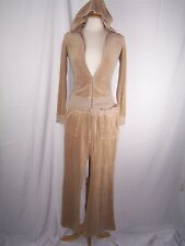 JUICY COUTURE Soft Velour Tan 2pc  Hoodie Full Zip Jacket Pants Track Suit Small