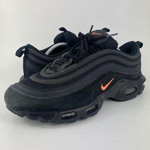 Nike Air Max Plus 97 Black/Orange Suede Running Shoes CD7862-001 Men's Size 10.5