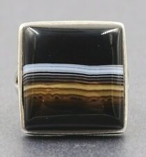925 Sterling Silver & Banded Agate Ladies/Men/Unisex Ring