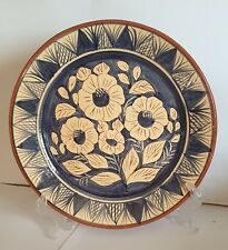 Antique Ceramic Plate Decorated  Floral Blue Hand Paint Art Home Decor Clay