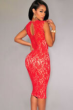 Sexy Ladies RED Lace  Bodycon  Party Evening Dress with Underlay Size 8