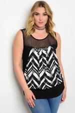 NEW..Stylish Plus Size Sleeveless Top with Striped Mesh Bodice.Sz16/1XL