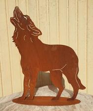 WOLF HEULEND 60x52cm auf Platte Edelrost Rost Metall Rostfigur Hund Fuchs