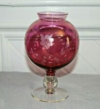 Pedestal Etched CRANBERRY GLASS Cut to Clear VASE ROSE BOWL