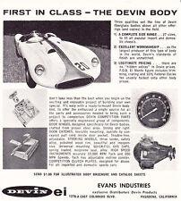1959 DEVIN KIT CAR / EVANS INDUSTRIES ~ ORIGINAL SMALLER PRINT AD