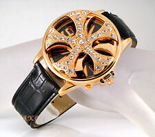 XL Gents Mens Unisex Black Leather Gold Rapper Spin Ice Pimp Bling Crystal Watch
