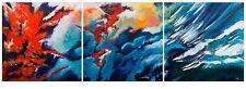 """Superbe original Bryony Harrison """"incendie de forêt triptyque"""" peinture abstraite"""