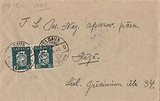 Stamp 1940 Latvia 10s arms & stars pair on cover sent JELGAWA locally