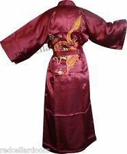 New Mens or Womens Burgundy Wine House Coat With Embroidered Dragon on Back
