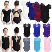 Girls Lace Stretch Dance Leotards Gymnastics Ballet Dancewear Jumspuit Costumes
