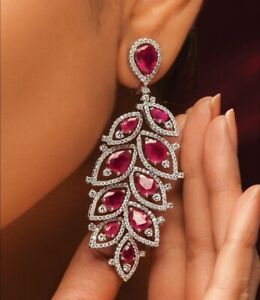 9Ct Pear Cut Ruby Simulant Diamond Chandelier Earrings Yellow Gold Finish Silver