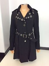 Karen Millen England Black Mac Trench Coat Jacket Size 40 Uk 12