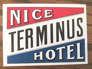 Vintage Old 1930 s Hotel Luggage Label NICE TERMINUS HOTEL France