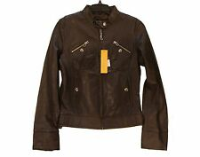 United Face Leather Brown Motorcycle Inspired Jacket Women's XS