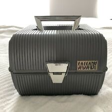 VTG SASSABY Make Up Train Road Case Crafts Organizer Box Travel Silver Grey EUC