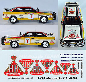 HB AUDI TEAM QUATTRO RALLY DECALS FOR AUTOART 1:18 MODEL CARS.