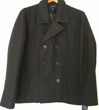 Men's Coat CROFT & BARROW Wool Blend Pea CHARCOAL GRAY Double Breasted LARGE L